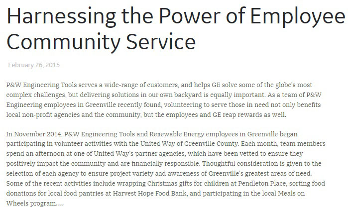GE community service article screenshot