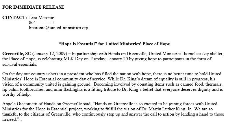 Lisa Maronie United Ministries Hope is Essential press release